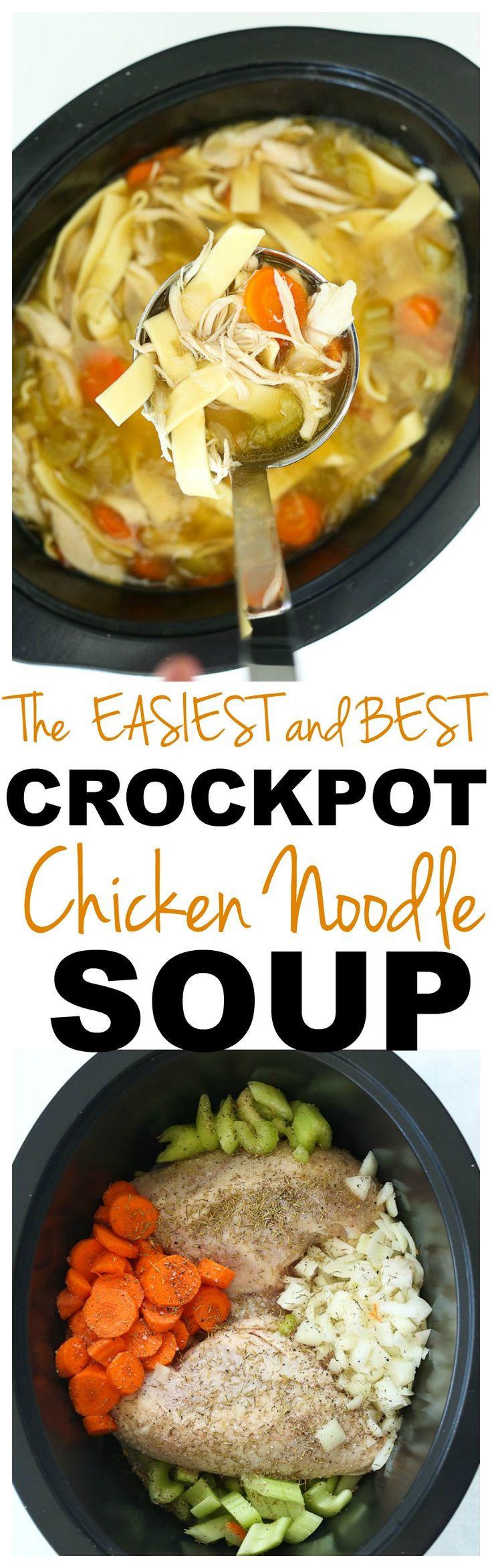 Crockpot Chicken Noodle Soup recipe #crockpot #chicken #easy #recipes #healthy  #weeknightdinner #soup via @Maryea Flaherty
