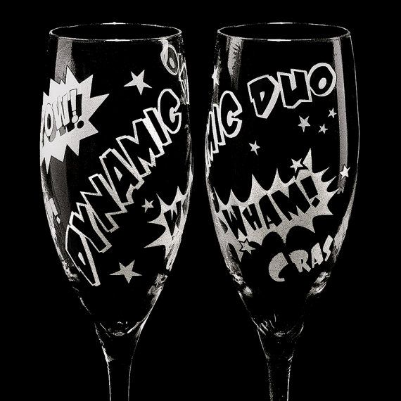 Comic Book Wedding Champagne Flutes Personalized by bradgoodell