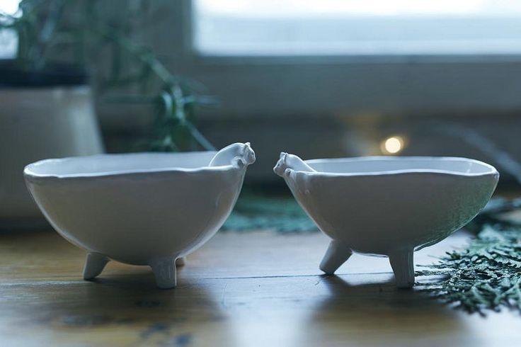 Bear bowls Set of two ceramic bowls SMALL CERAMIC BOWL by Lamabo