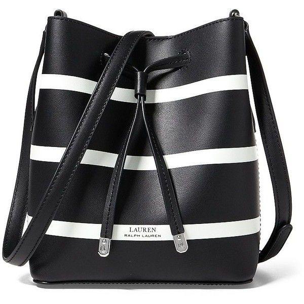 Lauren Ralph Lauren Women's Striped Mini Drawstring Bag (1 880 ZAR) ❤ liked on Polyvore featuring bags, handbags, shoulder bags, bolso, black white, mini purse, faux leather purses, black and white purse, leather handbags and mini shoulder bag