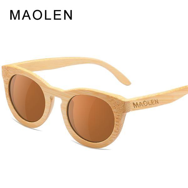 ace7420c384 MAOLEN Wooden Sunglasses Polarized Women Bamboo brand Sun glasses Vintage  Wood Beach Sunglass for Driving gafas de sol UV400