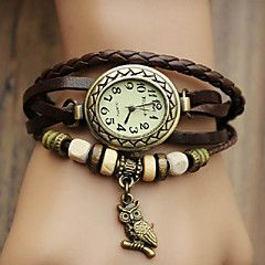 braccialetto di vigilanza bohemien fascia di cuoio ciondolo gufo delle donne (colore casuale)