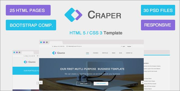 Overview Craper Multi-Purpose HTML5 / CSS3 template is based on a 1170px grid system and ready for Bootstrap 3.1.1. Including 25 different HTML5 pages, you might use a a lot of fantastic features f...