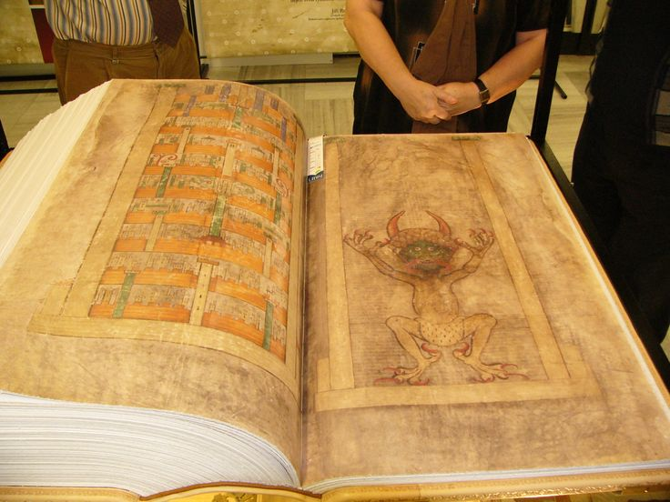 The Codex Gigas (English: Giant Book) is the largest extant medieval manuscript in the world.[1] It is also known as the Devil's Bible because of a large illustration of the devil on the inside and the legend surrounding its creation. It is thought to have been created in the early 13th century in the Benedictine monastery of Podlažice in Bohemia (modern Czech Republic). It contains the Vulgate Bible as well as many historical documents all written in Latin.