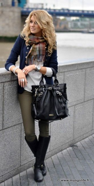 Olive skinnies, blue jacket, plaid scarf, boots. bag is too large for my taste. I have charcoal tall boots like these.