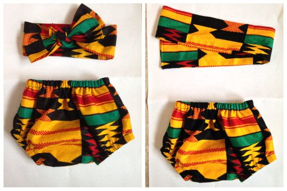 African print Baby diaper cover and head wrap by ZiZiandGrace