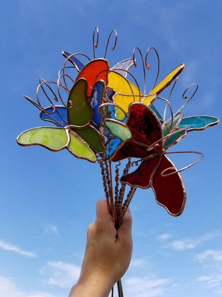 One stained glass 3D butterfly garden plant stake Made To