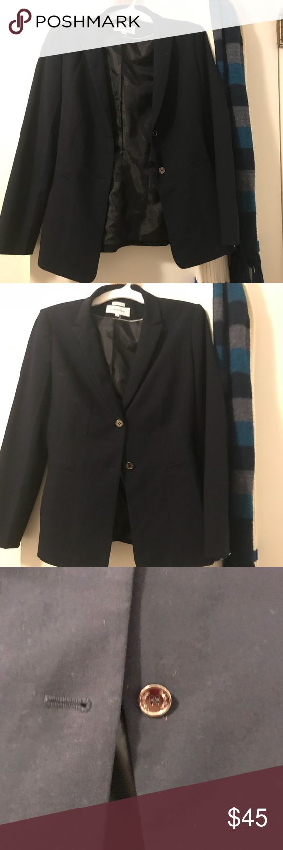 Calvin Klein Navy Blue Blazer Size 10 Totally adorable and super professional blazer. It's wonderful quality and stretches so it fits well. It is slimming so you'll look like on fleek in the office. It's cotton and spandex. It's minimally worn. Would keep but I have one just like it and I don't need two! I recommend this for anyone starting a job or wanting to move up the corporate ladder! Price is totally negotiable Calvin Klein Jackets & Coats Blazers