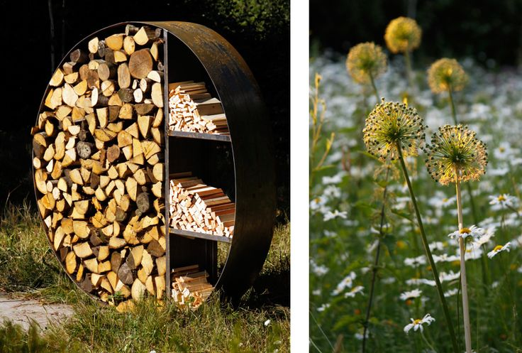 sculptural log store