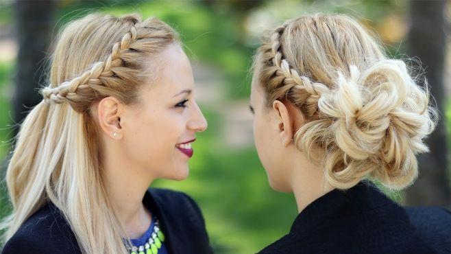 Örgülü Kabarık Ve Yan Örgülü Saç Modelleri - Özel günler için veya günlük evde yapabileceğiniz örgülü kabarık ve yan örgülü saç modelleri (Braided Updo Hairstyle Party Half Up Half Down Hairstyle Video)