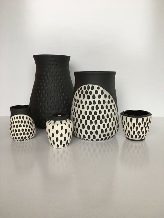 Black and white carved vase  wheel thrown black clay vase