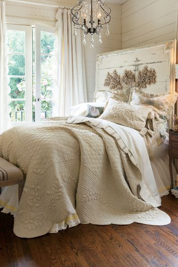 St. Rémy-inspired quilt flaunts a reversal of fortune, fabulously flipping from gorgeous trapunto vining to chic ticking stripes. | Soft Surroundings