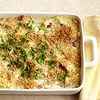 Tuscan Cheese Potato Bake.    Three cheeses,garlic thyme butter, mashed potatoes, topped with Parmesan cheese and panko bread crumbs.  Bake 20 minutes in 400 degree oven until golden and bubbling