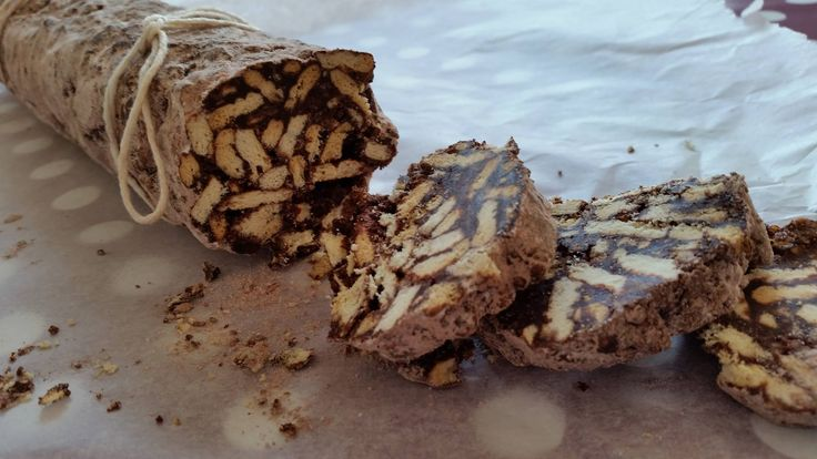 Chocolate salami. Italian cake with cookies and cacao