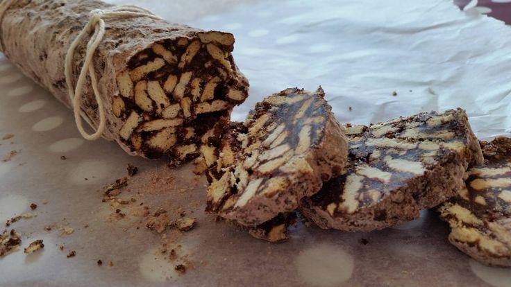 Chocolate salami. Italian cake with cookies and cacao