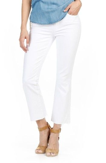 Free shipping and returns on PAIGE Colette High Waist Raw Hem Crop Flare Jeans (Optic White) at Nordstrom.com. Crafted from sturdy stretch denim that doesn't show through, these bright white jeans in a trendy cropped-flare silhouette are essential for the warmer months. Ragged hems finish the pair with a touch of edge.