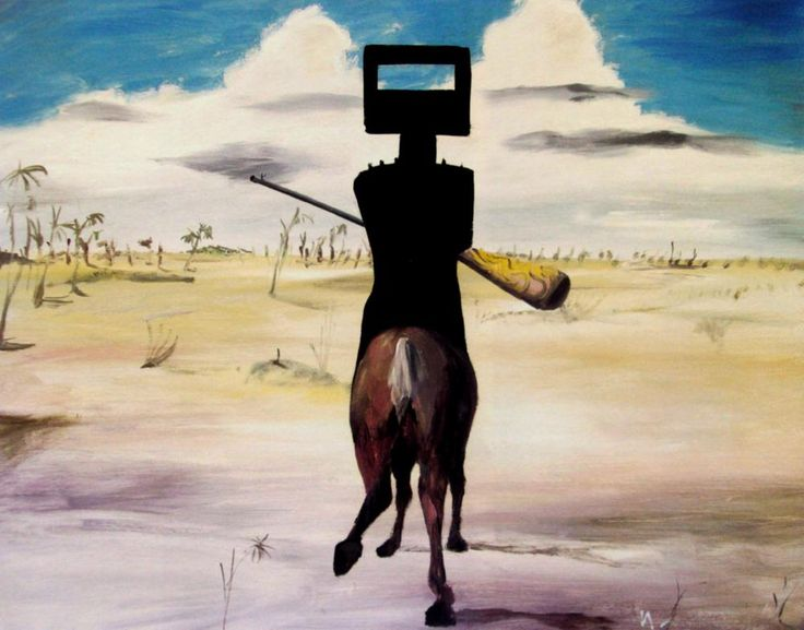 From the Ned Kelly series. Australian artist Sidney Nolan painted a famous series on the Irish-Australian bushranger (outlaw) Ned Kelly (son of a convict) who was hanged in Melbourne in 1880. To some he has become somewhat of a folk hero and symbol of rebeliion of the poor against authority, (a sort of Australian version of Robin Hood) although to others he was just a common criminal. It's undeniable, though, that he's become part of Australian folklore…