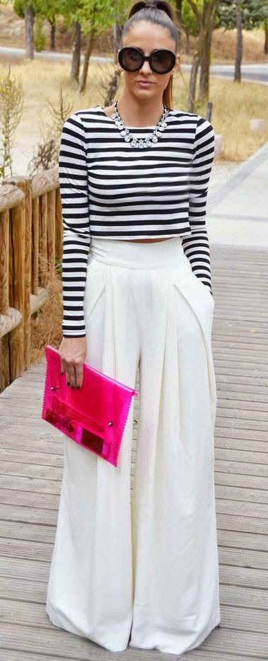 Women's fashion | Striped long sleeves crop top, white palazzo pants, pink clutch
