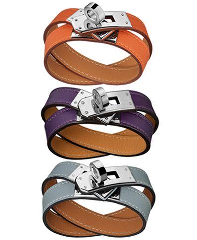 Hermès F/W12 Kelly Double Tour Bracelets in Mango, Ultraviolet, & Linen Blue