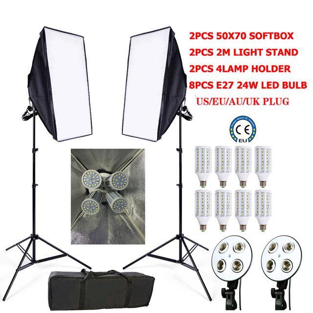 Photo Studio 8 LED 24w Softbox Kit Photographic Lighting Kit.  2pcs softbox(50x70cm)                     2pcs Light Holders(4 lamps socket, suit for 100v-240v)                     2pcs light stand/ Tripod(max 2meter)