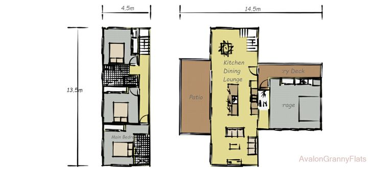 The Reef -  a 3 bedroom doubled stored granny flat or smaller style home with a total internal and external floor space of 189.8 sqm. Designed by Avalon Granny Flats and available anywhere throughout Australia as a kit home or full build option. Enquire through: http://avalongrannyflats.com.au/