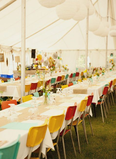 such a great use of color and vintage: Old Schools, Tent Wedding, Colors Wedding, Colors Schemes, Wedding Chairs, Colors Chairs, Cool Chairs, Long Tables, Diy Wedding