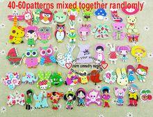 Envío gratis - 30 unids Mixed 2 Holes caricaturas madera botones de costura Scrapbooking WCF-301-3(China (Mainland))