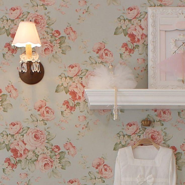 Papel de parede Floral Decoração Quarto de menina  ~ Quarto Casal Com Papel De Parede Floral