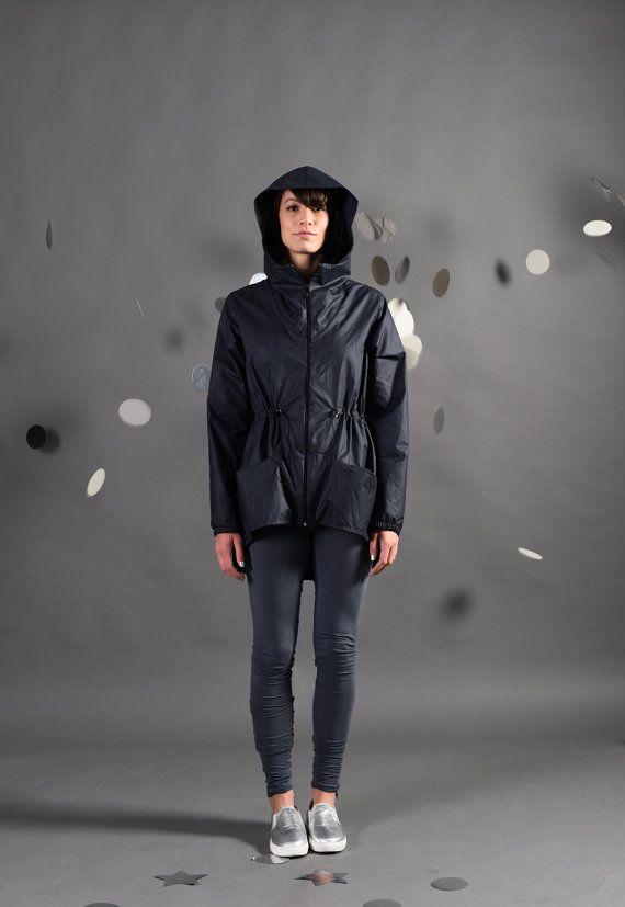 Navy blue raincoat nylon for women with hood, designed windbreaker lightweight fabric, water resistant, winter coat jacket, bike accessories