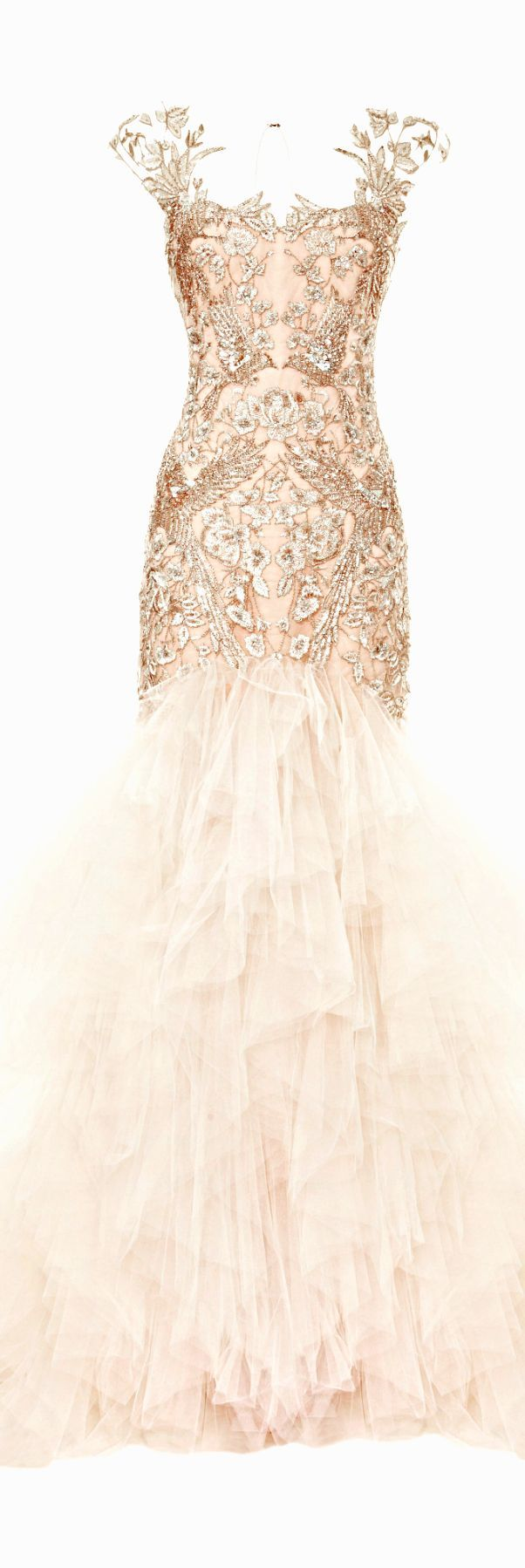 (via Marchesa SS 2014 | ❤ Rose Gold ❤) stunning embellished gown. What a gorgeous wedding dress this would make...just SAYIN