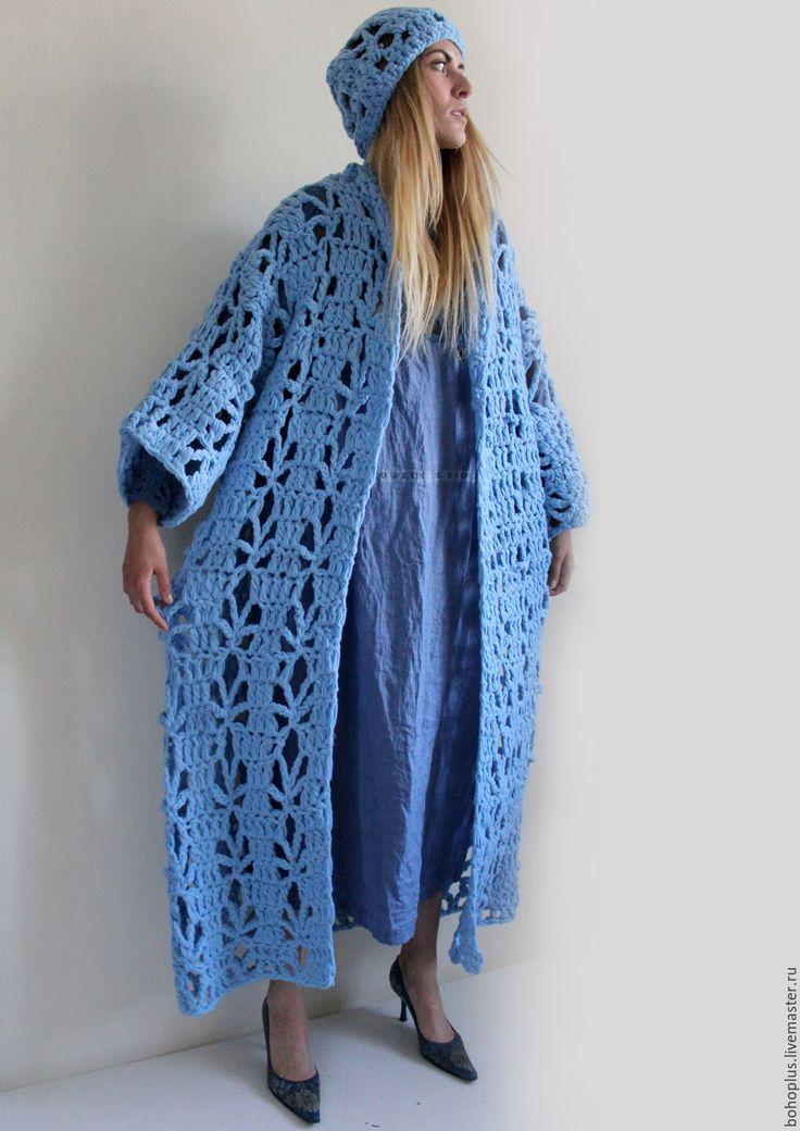 """Купить Летнее пальто из толстой пряжи """"Голубой день"""" - голубой, однотонный, пальто, пальто женское"""