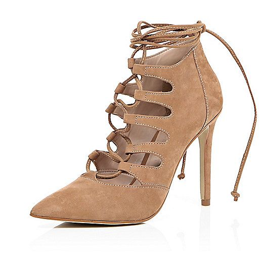 Camel nubuck lace up pointed heels - £75.00 #riverisland