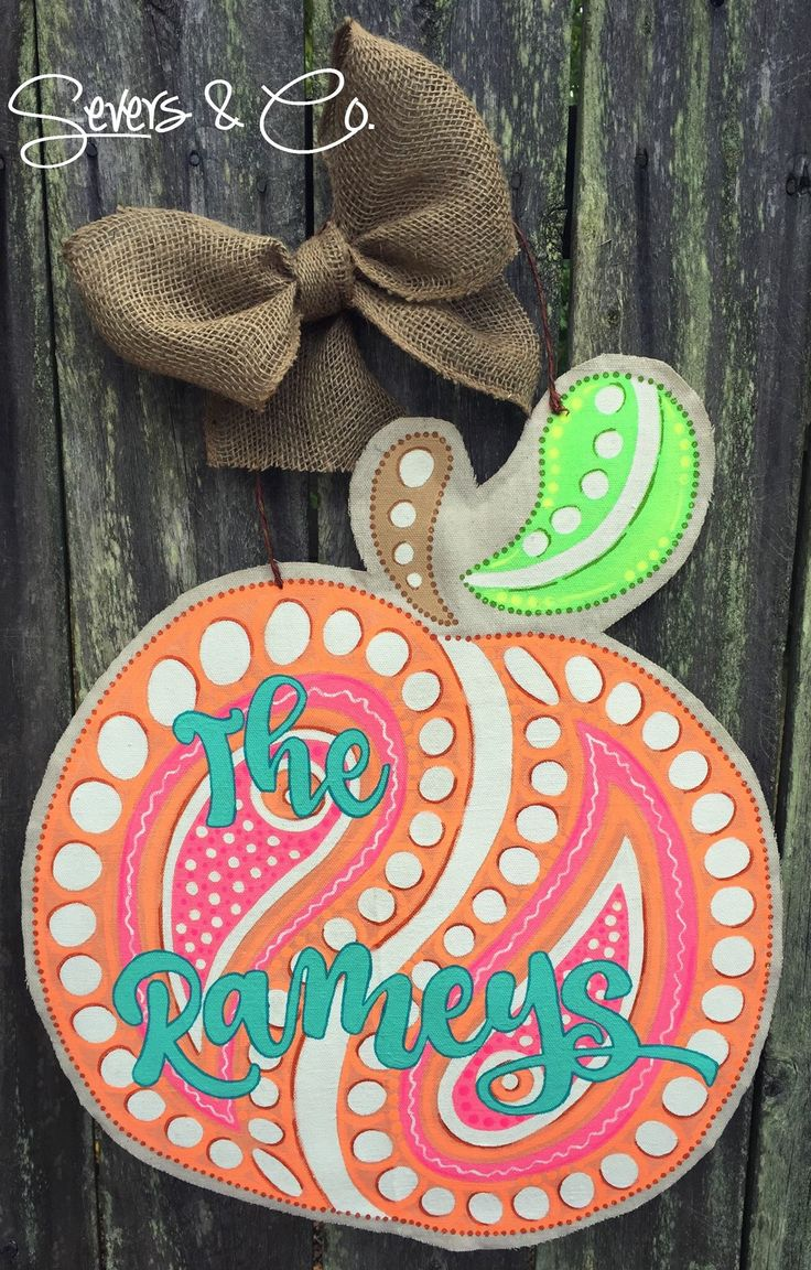 Custom Neon Paisley Peach canvas door hanger by Severs & Co.  $50+shipping.