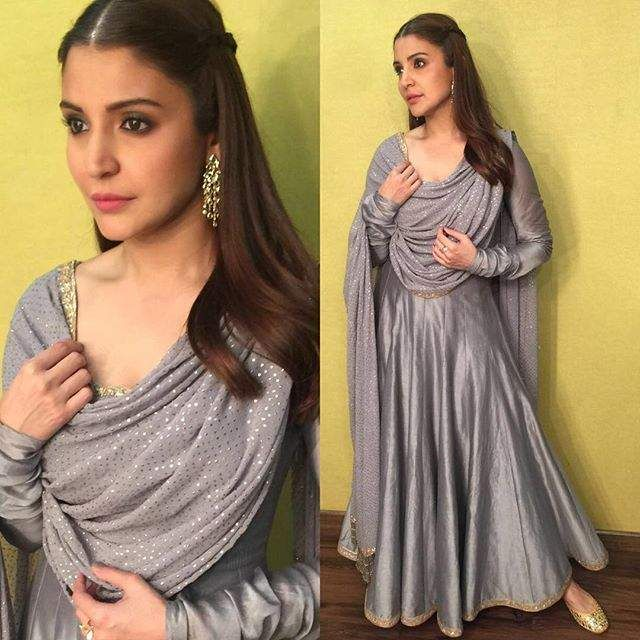 Anushka sharma in grey designer suit while promoting sultan movie.  For more bollywood fashion visit: http://www.ethnicoapp.com/tag/bollywood