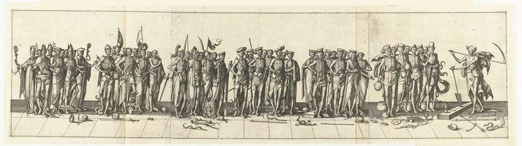 Pieter van der Borcht (I) | Optocht van doden, Pieter van der Borcht (I), Hendrick Hondius (I), 1559 - 1608 | Optocht van doden, aangevoerd door de Dood. Van links naar rechts: kerkelijke vorsten, wereldse vorsten, soldaten, geleerden en rechters en koopmannen. Rechts de Dood als tuinman met spade in de hand en zeis over de schouder. Geheel op drie bladen aan elkaar geplakt.