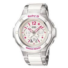 THE SUPPLY SHOPPE - Product - CW368 BABY G PINK AND WHITE ANALOG DIGITAL (BGA-120C-7B2DR)