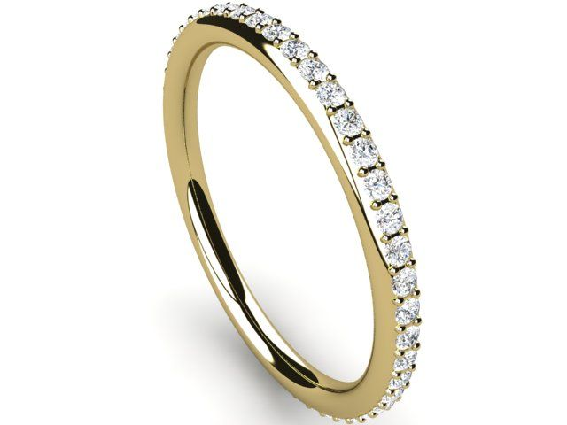 Full Eternity Diamond Ring round thin band 0.40ct Si2/H Yellow Gold 18K Hallmarked - Paul Jewelry