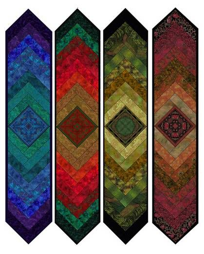 Medallion table runners, braded design with center medallion, quilt kits at Jinny Beyer Quilting