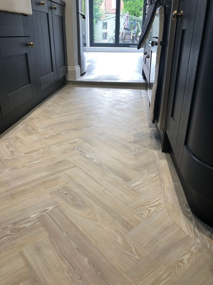 Amtico Spacia In The Herringbone For A Customer In Ware Hertfordflooring Amtico Flooring Kitchen Amtico Flooring Herringbone Wood Floor
