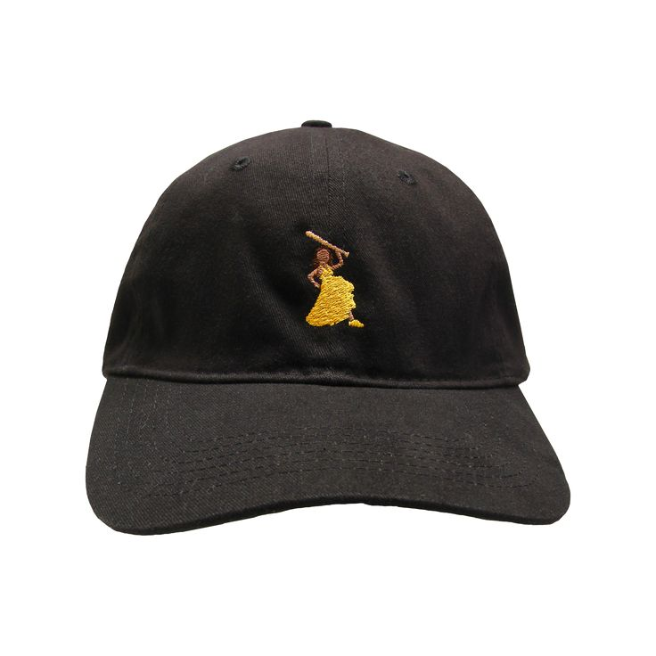"Black Dad Hat featuring an embroidered Beyoncé w/ a bat & ""Hold Up"" embroidered in black."