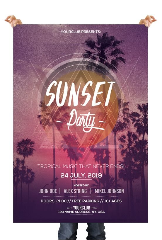 Sunset Party Download Free Psd Flyer Templates Flyers Flyer
