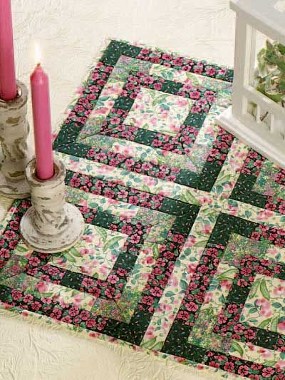 Quilting - Home Decor - Table Topper Quilt Patterns - Garden Pathways Quilted Candle Mat Pattern - #FQ00107
