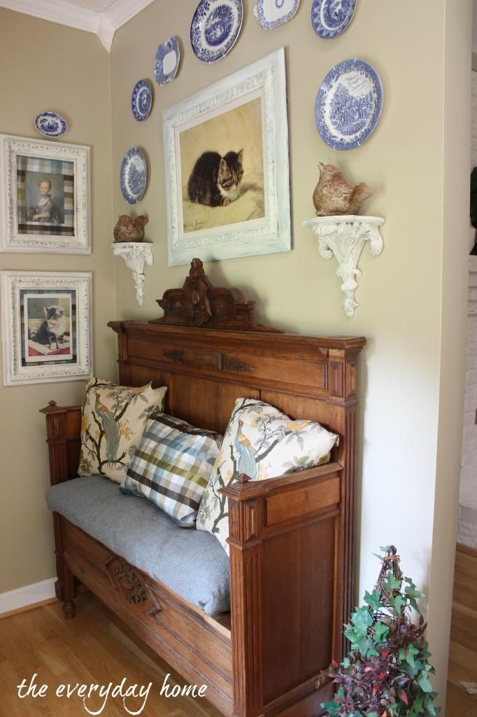 A Southern Home Tour at The Everyday Home:  Foyer with Antique Bed converted into a bench.