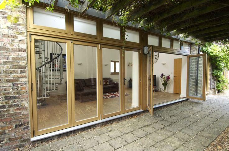 Oak Folding Doors with a light Oak Stain finish