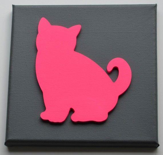 Cadre 20 x 20 cm fond gris Chat bois 15,5cmx13cmx5mm rose fluo