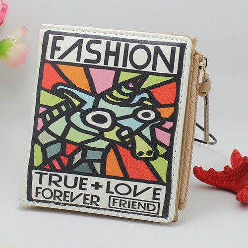 New Japan and Korean Style Women Wallet Animal Prints Girls Short Wallets Fashion Sweet Zipper Change Purse Delicate Cash Purse