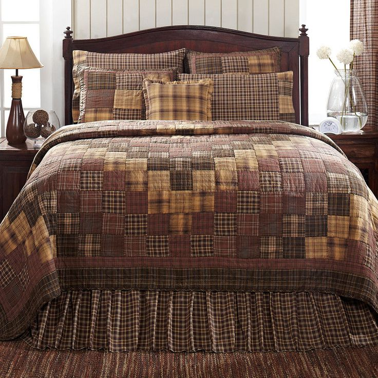 New Country Rustic PRESCOTT QUILT Coffee Brown Rust Tan Queen Quilted Bedspread