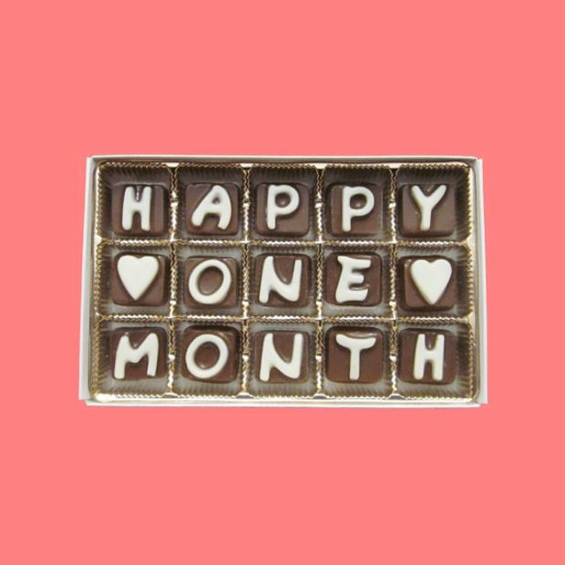 Happy One Month Cubic Chocolate Letters Romantic 1st first Anniversary Gift for Men Boyfriend BF GF Women APO Canada International Shipping