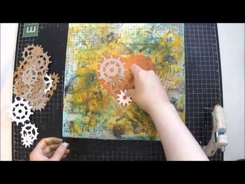 Mixed Media Canvas Collage - Industrial Heart - YouTube