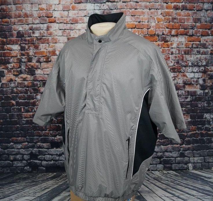 FootJoy DryJoys Golf Jacket Tour Rain Wind Gray Short Sleeve Pullover FJ Mens XL #FootJoy #Rainwear